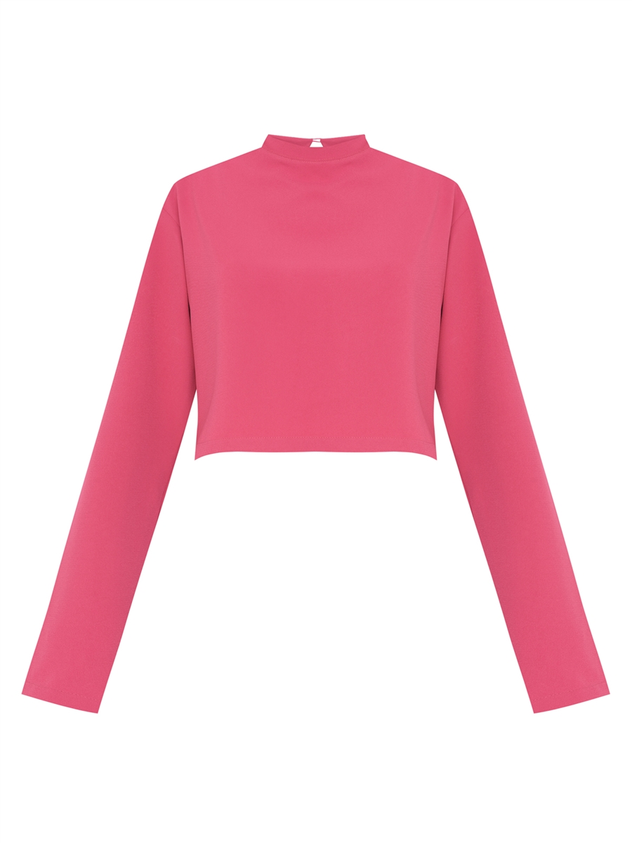 Sale Blusa Cropped Ombreira - Pink Magma
